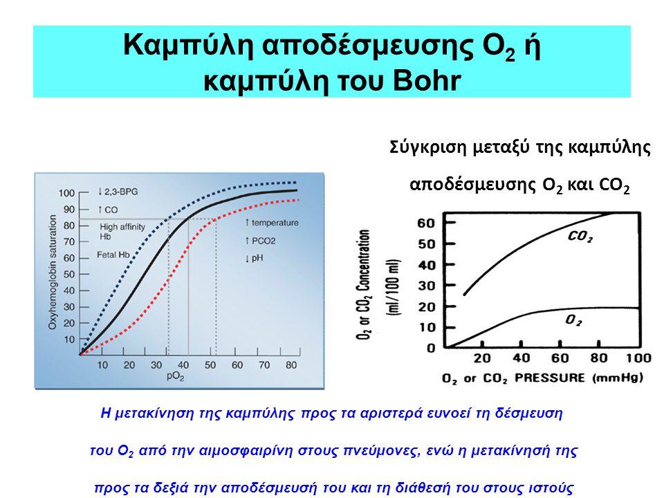 Καμπύλη αποδέσμευσης Ο 2 ή καμπύλη του Bohr Σύγκριση μεταξύ της καμπύλης αποδέσμευσης Ο 2 και CO 2 Η μετακίνηση της καμπύλης προς τα αριστερά ευνοεί τ