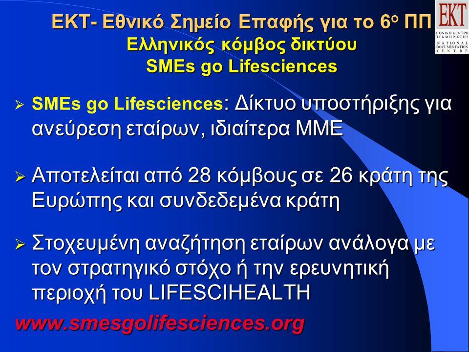 ΕΚΤ- Εθνικό Σημείο Επαφής για το 6 ο ΠΠ Ελληνικός κόμβος δικτύου SMEs go Lifesciences : Δίκτυο υποστήριξης για ανεύρεση εταίρων, ιδιαίτερα ΜΜΕ  SMEs go Lifesciences : Δίκτυο υποστήριξης για ανεύρεση εταίρων, ιδιαίτερα ΜΜΕ  Αποτελείται από 28 κόμβους σε 26 κράτη της Ευρώπης και συνδεδεμένα κράτη  Στοχευμένη αναζήτηση εταίρων ανάλογα με τον στρατηγικό στόχο ή την ερευνητική περιοχή του LIFESCIHEΑLTH www.smesgolifesciences.org