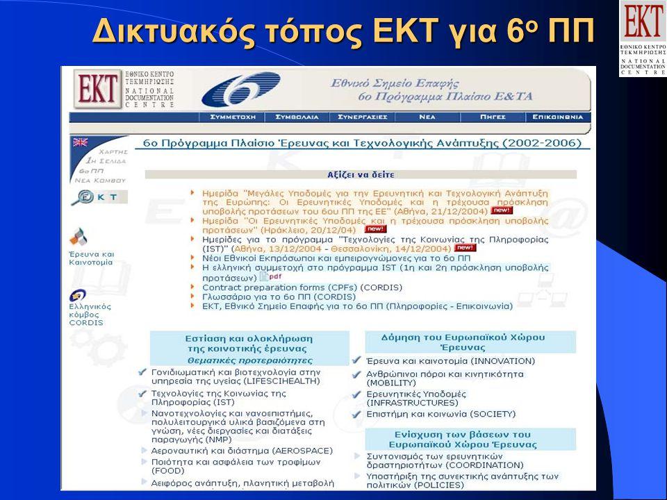 Δικτυακός τόπος ΕΚΤ για 6 ο ΠΠ