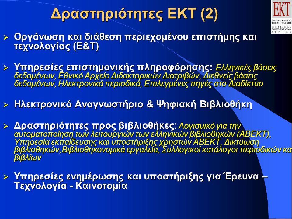 Δραστηριότητες ΕΚΤ (2)  Οργάνωση και διάθεση περιεχομένου επιστήμης και τεχνολογίας (Ε&Τ)  Υπηρεσίες επιστημονικής πληροφόρησης: Ελληνικές βάσεις δεδομένων, Εθνικό Αρχείο Διδακτορικών Διατριβών, Διεθνείς βάσεις δεδομένων, Ηλεκτρονικά περιοδικά, Επιλεγμένες πηγές στο Διαδίκτυο  Ηλεκτρονικό Αναγνωστήριο & Ψηφιακή Βιβλιοθήκη  Δραστηριότητες προς βιβλιοθήκες: Λογισμικό για την αυτοματοποίηση των λειτουργιών των ελληνικών βιβλιοθηκών (ΑΒΕΚΤ), Υπηρεσία εκπαίδευσης και υποστήριξης χρηστών ΑΒΕΚΤ, Δικτύωση βιβλιοθηκών,Βιβλιοθηκονομικά εργαλεία, Συλλογικοί κατάλογοι περιοδικών και βιβλίων  Υπηρεσίες ενημέρωσης και υποστήριξης για Έρευνα – Τεχνολογία - Καινοτομία