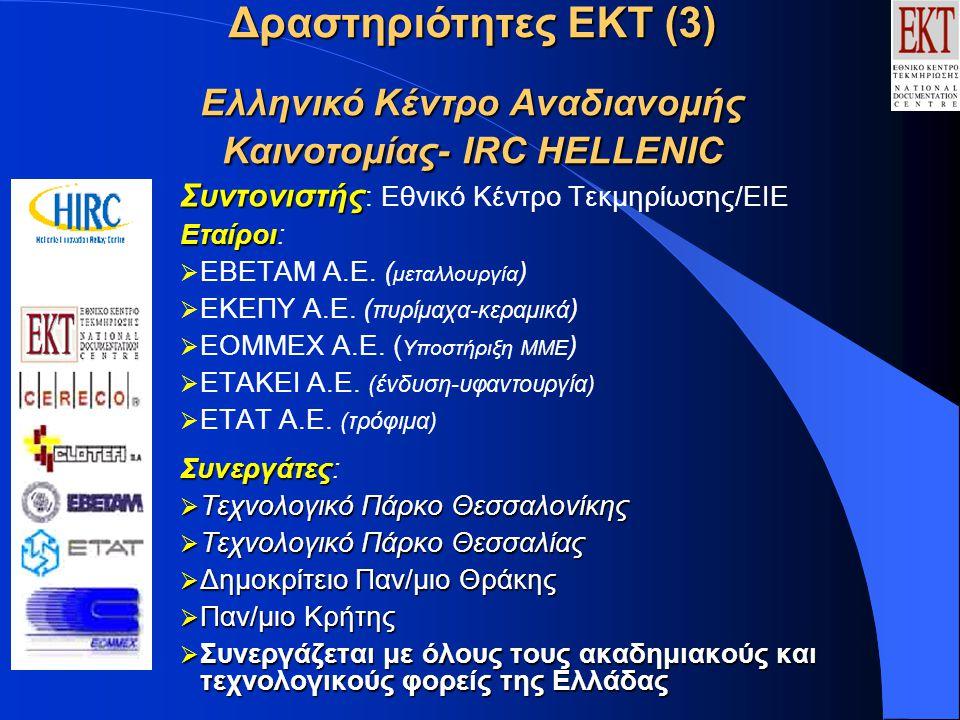 Δραστηριότητες ΕΚΤ (4) Ελληνικό Κέντρο Αναδιανομής Καινοτομίας Αποστολή: Αποστολή: Η προώθηση καινοτόμων προϊόντων, υπηρεσιών και τεχνογνωσίας, καθώς και η αξιοποίηση ερευνητικών αποτελεσμάτων, για την επίτευξη διεθνικών συμφωνιών μεταφοράς τεχνολογίας Στόχοι  Μεταφορά τεχνολογίας από και προς την Ελλάδα  Διάχυση και αξιοποίηση ερευνητικών αποτελεσμάτων εθνικών και ευρωπαϊκών προγραμμάτων  Ενίσχυση της ικανότητας των ελληνικών ΜΜΕ για την εφαρμογή καινοτόμων τεχνολογιών  Προώθηση διεθνών πρωτοβουλιών για την υποστήριξη της καινοτομίας: Χρηματοδοτικοί πόροι, Start up, Προστασία πνευματικών δικαιωμάτων