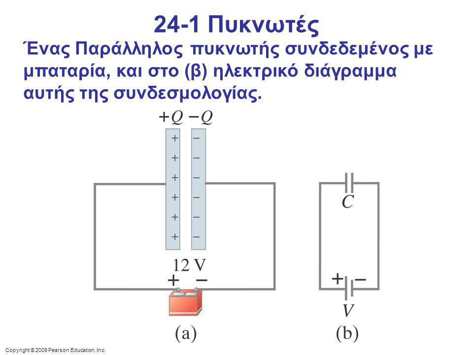 Copyright © 2009 Pearson Education, Inc. Ένας Παράλληλος πυκνωτής συνδεδεμένος με μπαταρία, και στο (β) ηλεκτρικό διάγραμμα αυτής της συνδεσμολογίας.