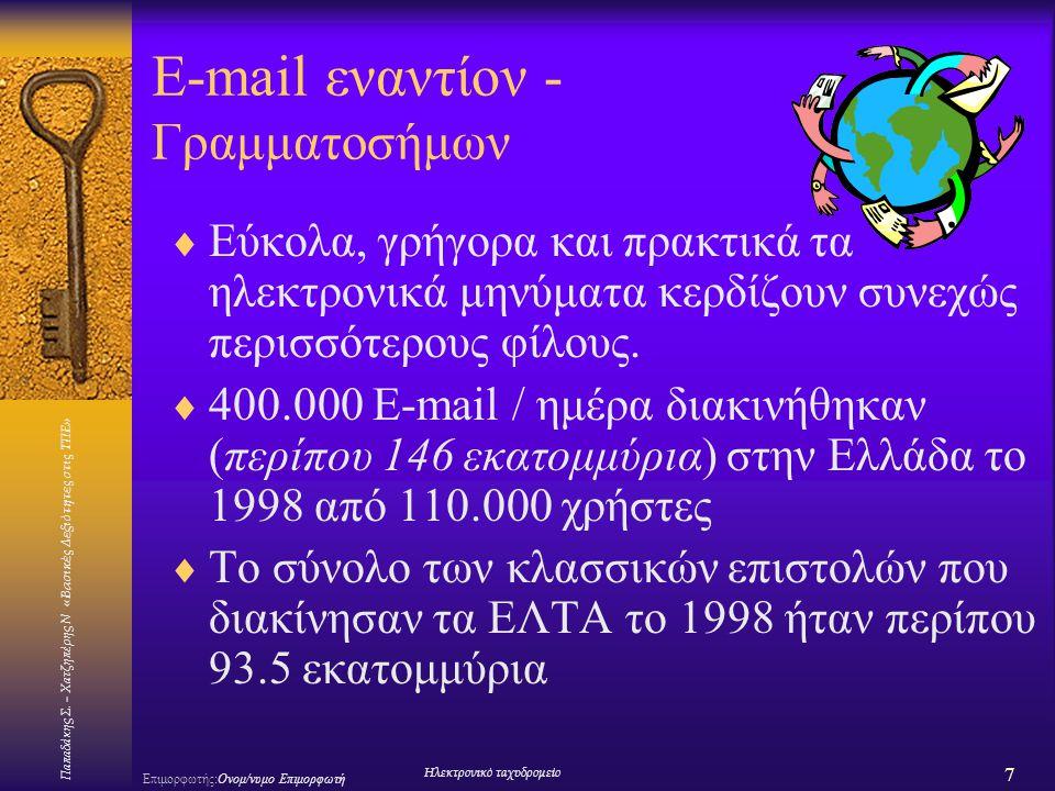 Παπαδάκης Σ. – Χατζηπέρης Ν «Βασικές Δεξιότητες στις ΤΠΕ» 7 Επιμορφωτής:Ονομ/νυμο Επιμορφωτή Ηλεκτρονικό ταχυδρομείο E-mail εναντίoν - Γραμματοσήμων 
