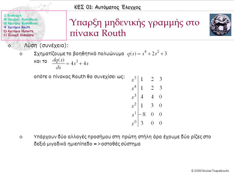 ΚΕΣ 01: Αυτόματος Έλεγχος © 2006 Nicolas Tsapatsoulis Ύπαρξη μηδενικής γραμμής στο πίνακα Routh ◊Λύση (συνέχεια): ◊Σχηματίζουμε το βοηθητικό πολυώνυμο