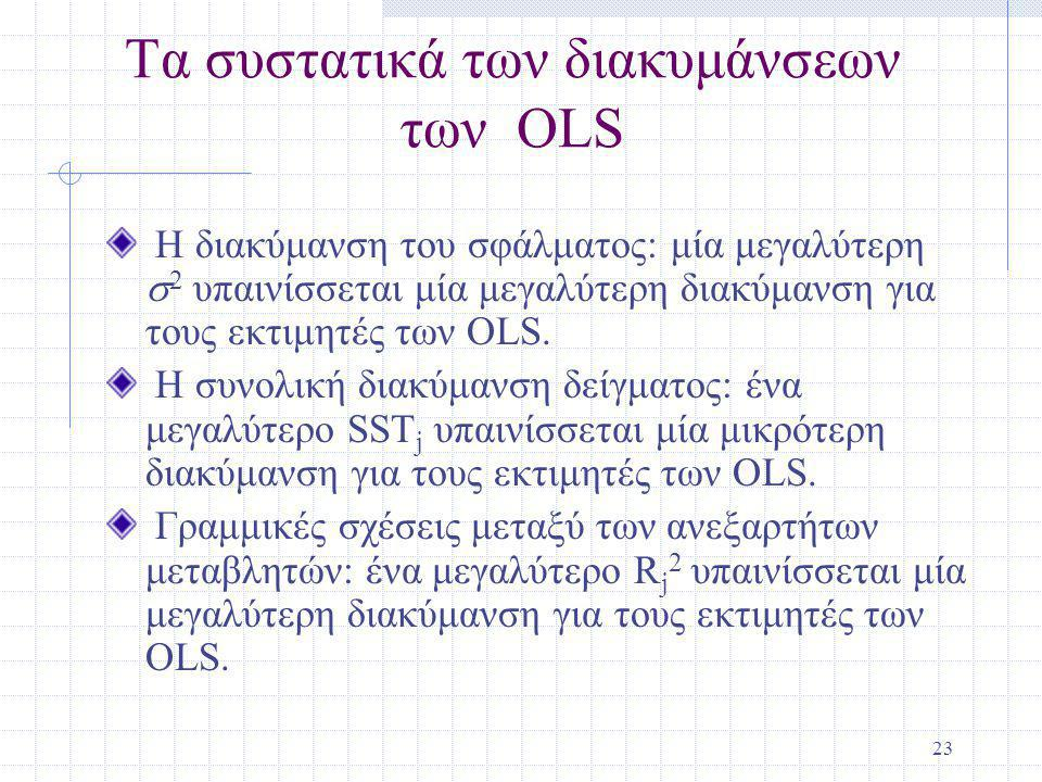 23 Τα συστατικά των διακυμάνσεων των OLS Η διακύμανση του σφάλματος: μία μεγαλύτερη  2 υπαινίσσεται μία μεγαλύτερη διακύμανση για τους εκτιμητές των OLS.