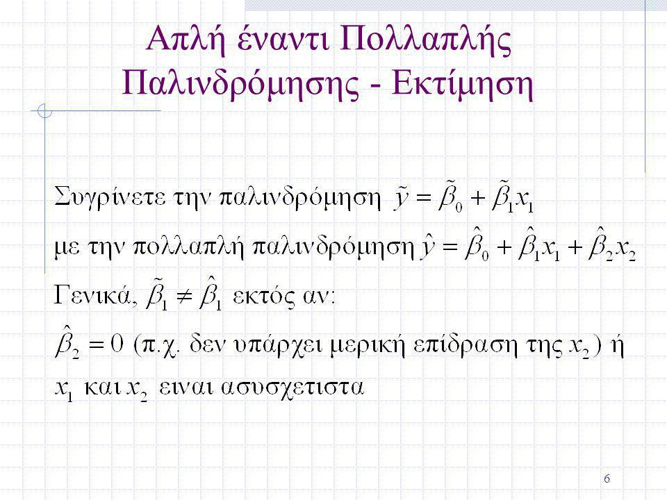 27 Εκτιμώντας την Διακύμανση Σφάλματος (συνέχεια) df = n – (k + 1), ή df = n – k – 1 df (βαθμοί ελευθερίας) είναι (ο αριθμός των παρατηρήσεων) –(ο αριθμός των εκτιμημένων παραμέτρων)
