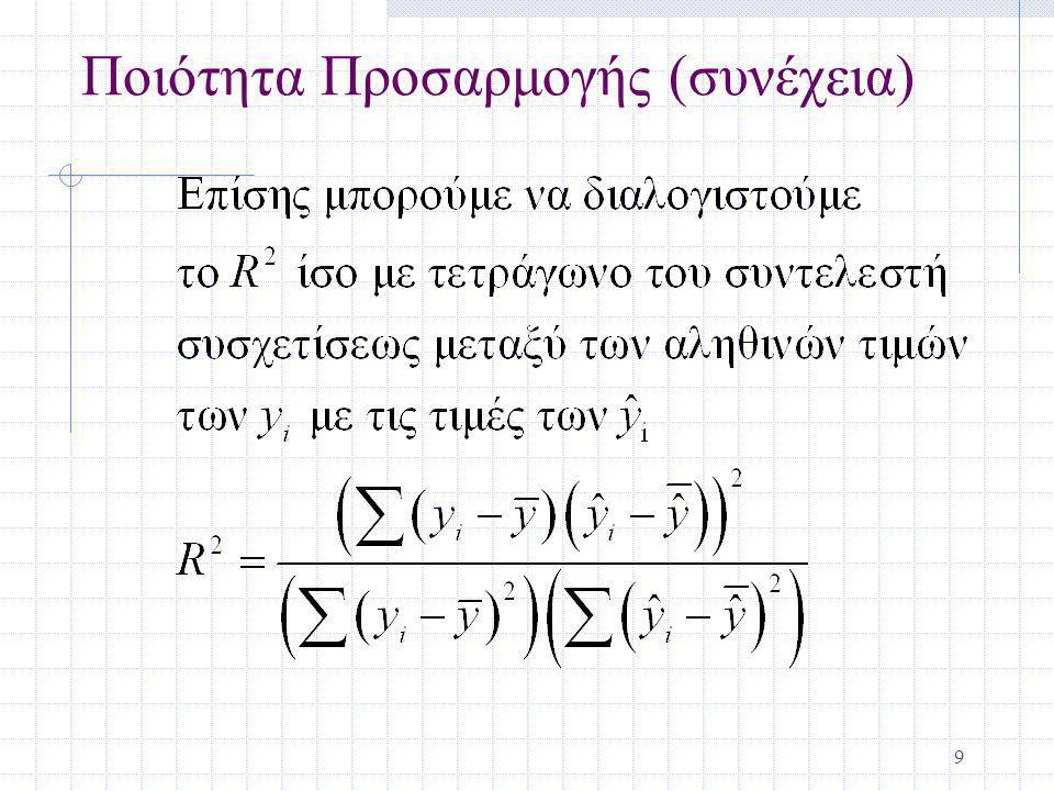 10 Περισσότερα για το R-τετράγωνο Το R 2 δε μπορεί ποτέ να ελαττωθεί όταν μία άλλη ανεξάρτητη μεταβλητή προστίθεται, πάντοτε αυξάνεται Αφού το R 2 αυξάνει με την προσθήκη ανεξαρτήτων μεταβλητών στο μοντέλο, δεν είναι ο καλύτερος τρόπος για να συγκρίνουμε μοντέλα