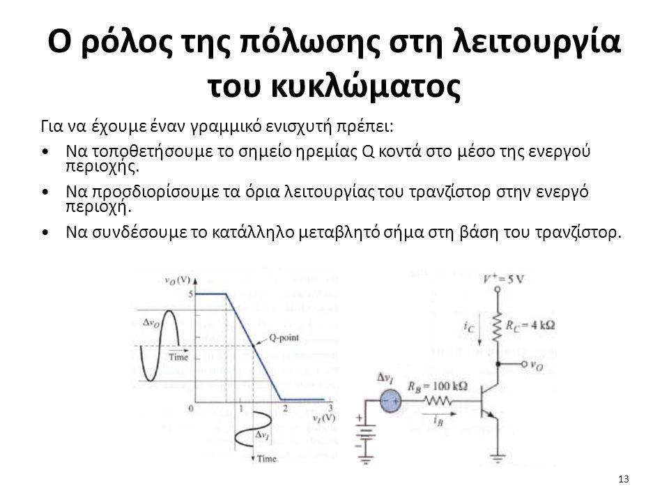 Ο ρόλος της πόλωσης στη λειτουργία του κυκλώματος Για να έχουμε έναν γραμμικό ενισχυτή πρέπει: Να τοποθετήσουμε το σημείο ηρεμίας Q κοντά στο μέσο της