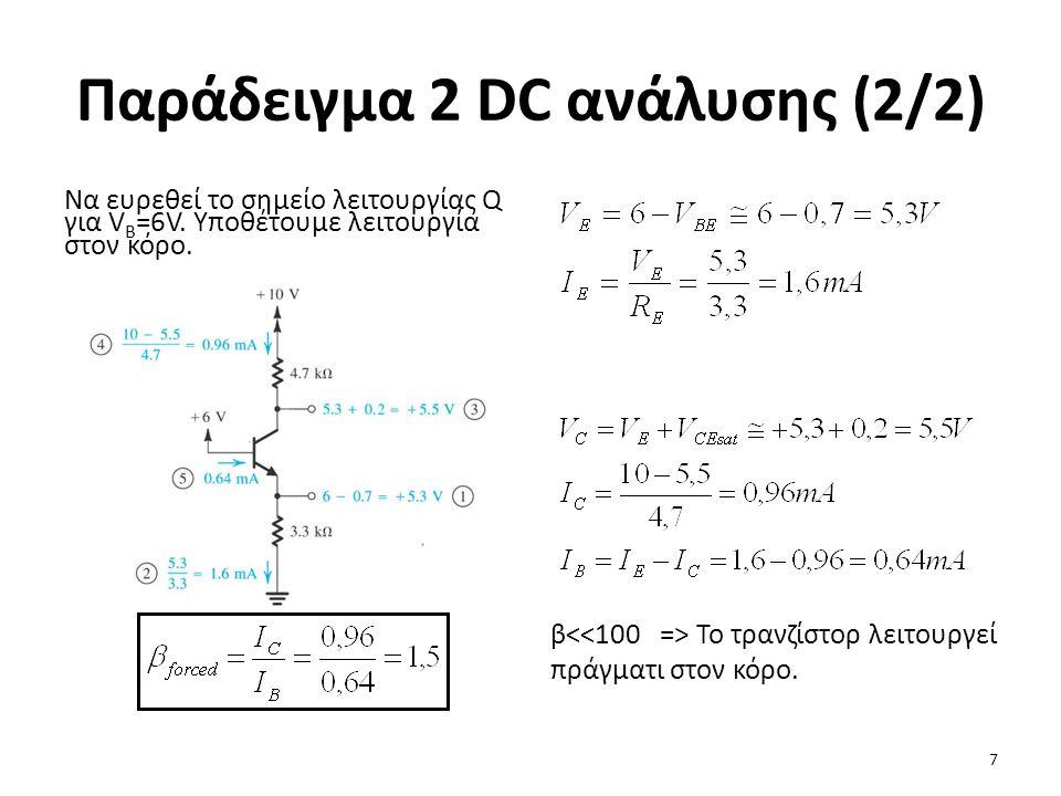 Παράδειγμα 2 DC ανάλυσης (2/2) Να ευρεθεί το σημείο λειτουργίας Q για V B =6V. Υποθέτουμε λειτουργία στον κόρο. β Το τρανζίστορ λειτουργεί πράγματι στ