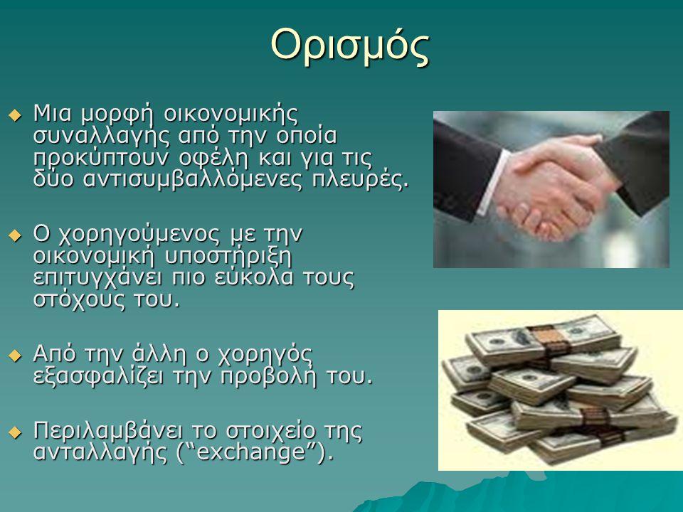 Ορισμός  Μια μορφή οικονομικής συναλλαγής από την οποία προκύπτουν οφέλη και για τις δύο αντισυμβαλλόμενες πλευρές.