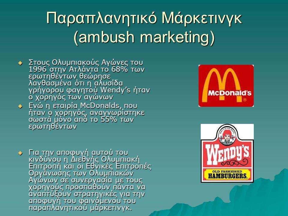 Παραπλανητικό Μάρκετινγκ (ambush marketing)  Στους Ολυμπιακούς Αγώνες του 1996 στην Ατλάντα το 68% των ερωτηθέντων θεώρησε λανθασμένα ότι η αλυσίδα γρήγορου φαγητού Wendy's ήταν ο χορηγός των αγώνων  Ενώ η εταιρία McDonalds, που ήταν ο χορηγός, αναγνωρίστηκε σωστά μόνο από το 55% των ερωτηθέντων  Για την αποφυγή αυτού του κινδύνου η Διεθνής Ολυμπιακή Επιτροπή και οι Εθνικές Επιτροπές Οργάνωσης των Ολυμπιακών Αγώνων σε συνεργασία με τους χορηγούς προσπαθούν πάντα να αναπτύξουν στρατηγικές για την αποφυγή του φαινόμενου του παραπλανητικού μάρκετινγκ.