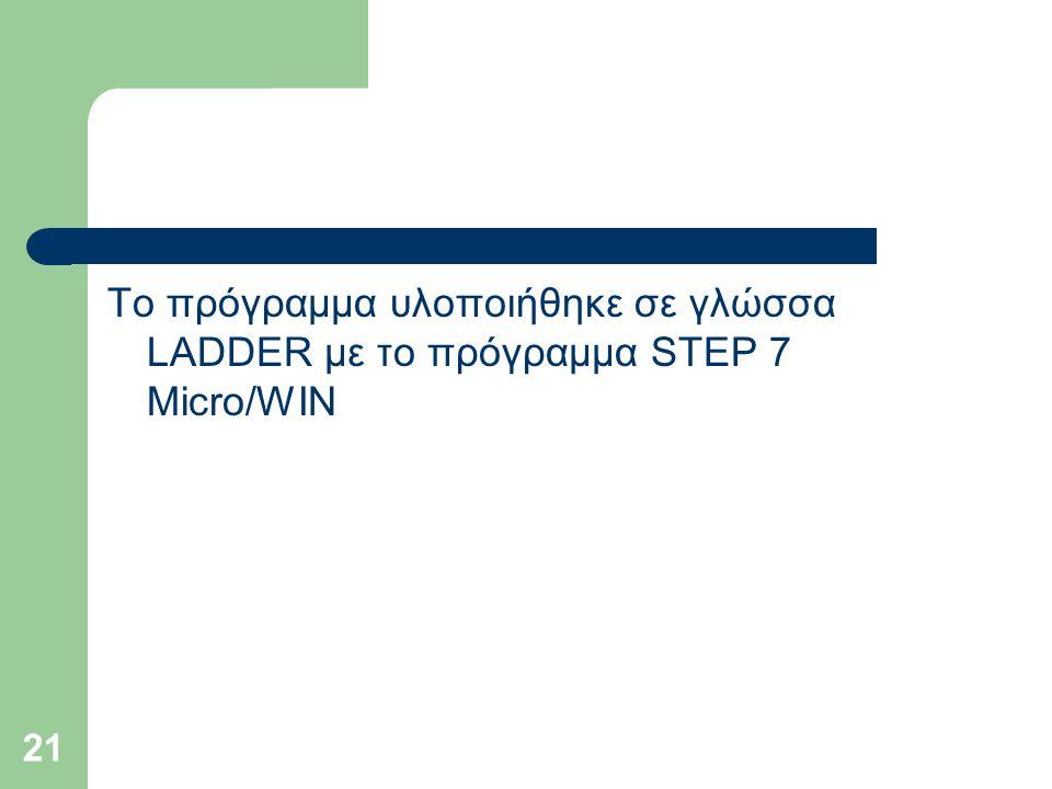 21 Το πρόγραμμα υλοποιήθηκε σε γλώσσα LADDER με το πρόγραμμα STEP 7 Micro/WIN