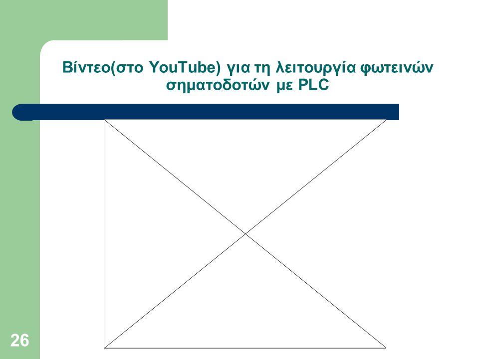26 Βίντεο(στο YouTube) για τη λειτουργία φωτεινών σηματοδοτών με PLC