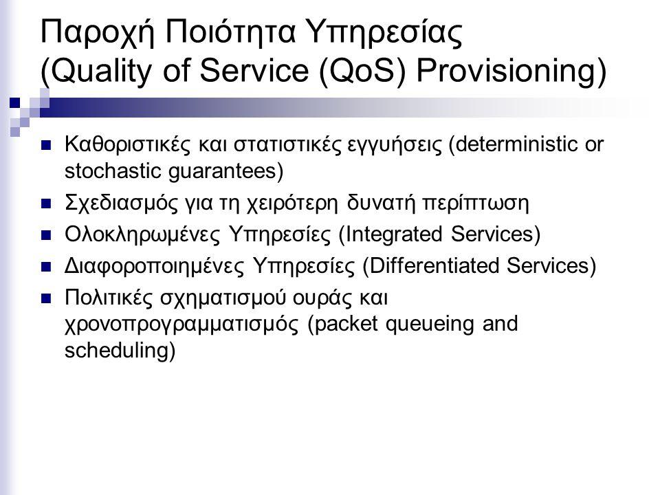 Παροχή Ποιότητα Υπηρεσίας (Quality of Service (QoS) Provisioning) Καθοριστικές και στατιστικές εγγυήσεις (deterministic or stochastic guarantees) Σχεδιασμός για τη χειρότερη δυνατή περίπτωση Ολοκληρωμένες Υπηρεσίες (Integrated Services) Διαφοροποιημένες Υπηρεσίες (Differentiated Services) Πολιτικές σχηματισμού ουράς και χρονοπρογραμματισμός (packet queueing and scheduling)