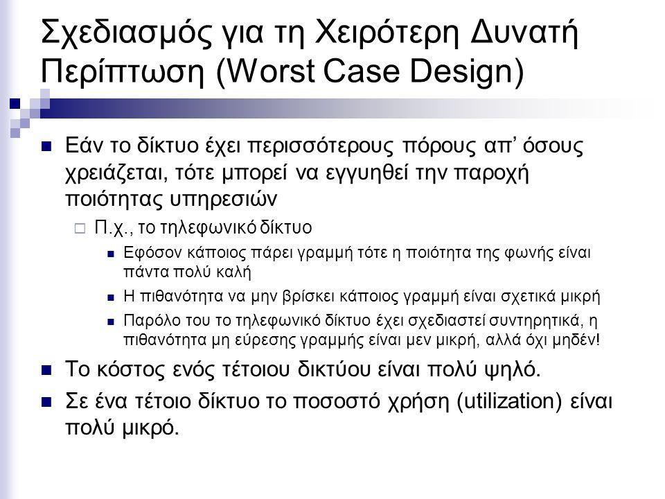 Σχεδιασμός για τη Χειρότερη Δυνατή Περίπτωση (Worst Case Design) Εάν το δίκτυο έχει περισσότερους πόρους απ' όσους χρειάζεται, τότε μπορεί να εγγυηθεί την παροχή ποιότητας υπηρεσιών  Π.χ., το τηλεφωνικό δίκτυο Εφόσον κάποιος πάρει γραμμή τότε η ποιότητα της φωνής είναι πάντα πολύ καλή Η πιθανότητα να μην βρίσκει κάποιος γραμμή είναι σχετικά μικρή Παρόλο του το τηλεφωνικό δίκτυο έχει σχεδιαστεί συντηρητικά, η πιθανότητα μη εύρεσης γραμμής είναι μεν μικρή, αλλά όχι μηδέν.