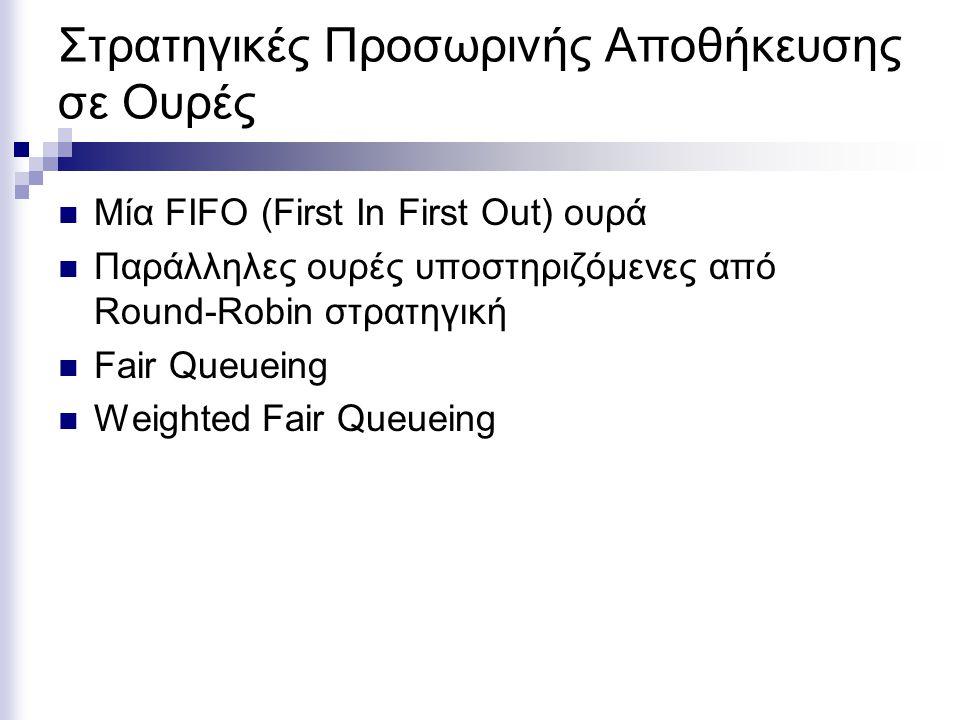 Στρατηγικές Προσωρινής Αποθήκευσης σε Ουρές Μία FIFO (First In First Out) ουρά Παράλληλες ουρές υποστηριζόμενες από Round-Robin στρατηγική Fair Queueing Weighted Fair Queueing