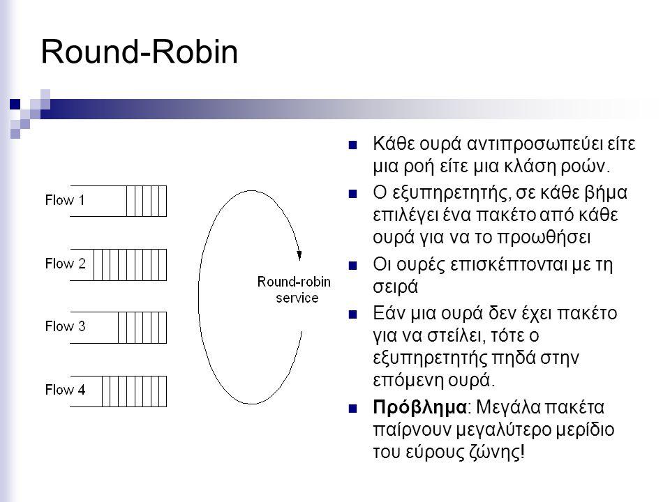 Round-Robin Κάθε ουρά αντιπροσωπεύει είτε μια ροή είτε μια κλάση ροών.