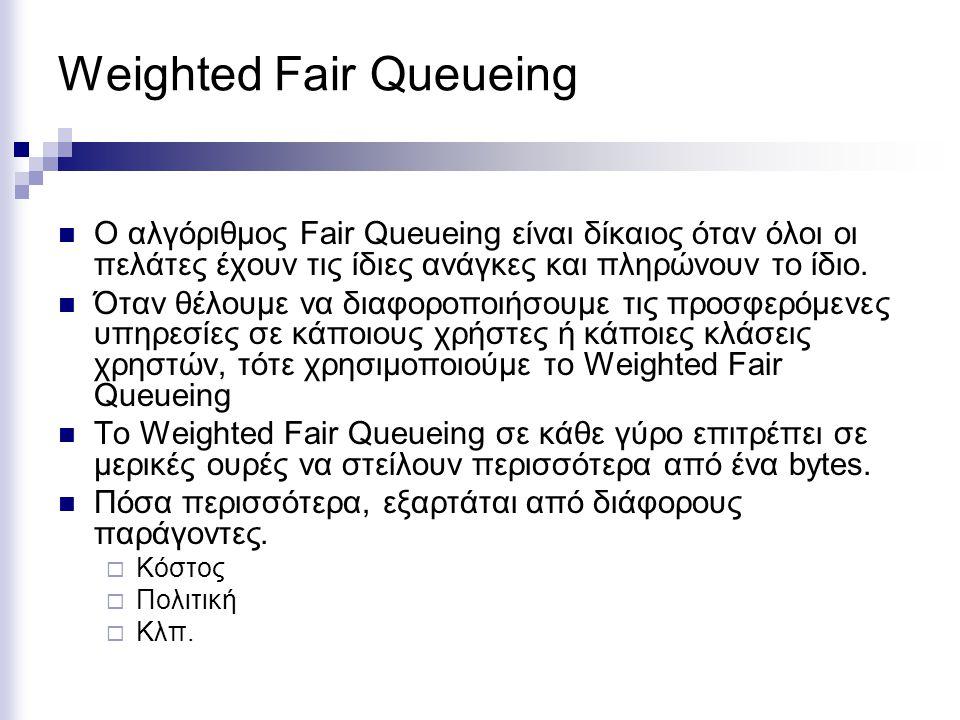 Weighted Fair Queueing Ο αλγόριθμος Fair Queueing είναι δίκαιος όταν όλοι οι πελάτες έχουν τις ίδιες ανάγκες και πληρώνουν το ίδιο.