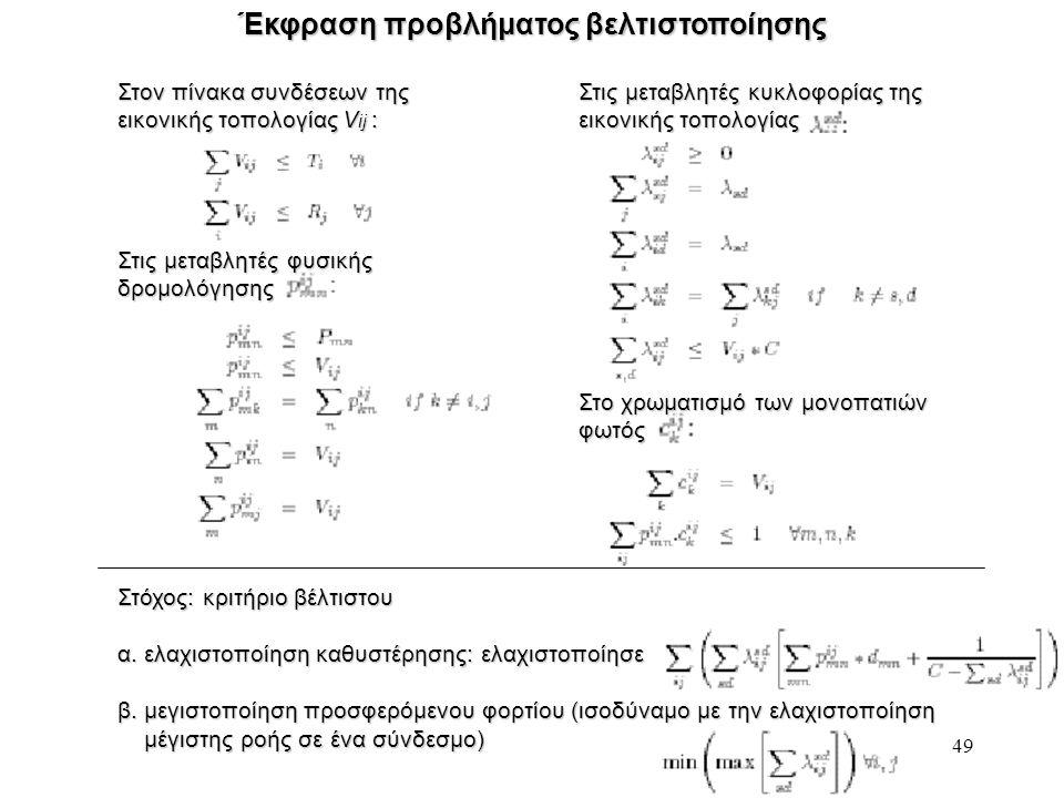 49 Έκφραση προβλήματος βελτιστοποίησης Στον πίνακα συνδέσεων της εικονικής τοπολογίας V ij : Στις μεταβλητές κυκλοφορίας της εικονικής τοπολογίας Στόχ