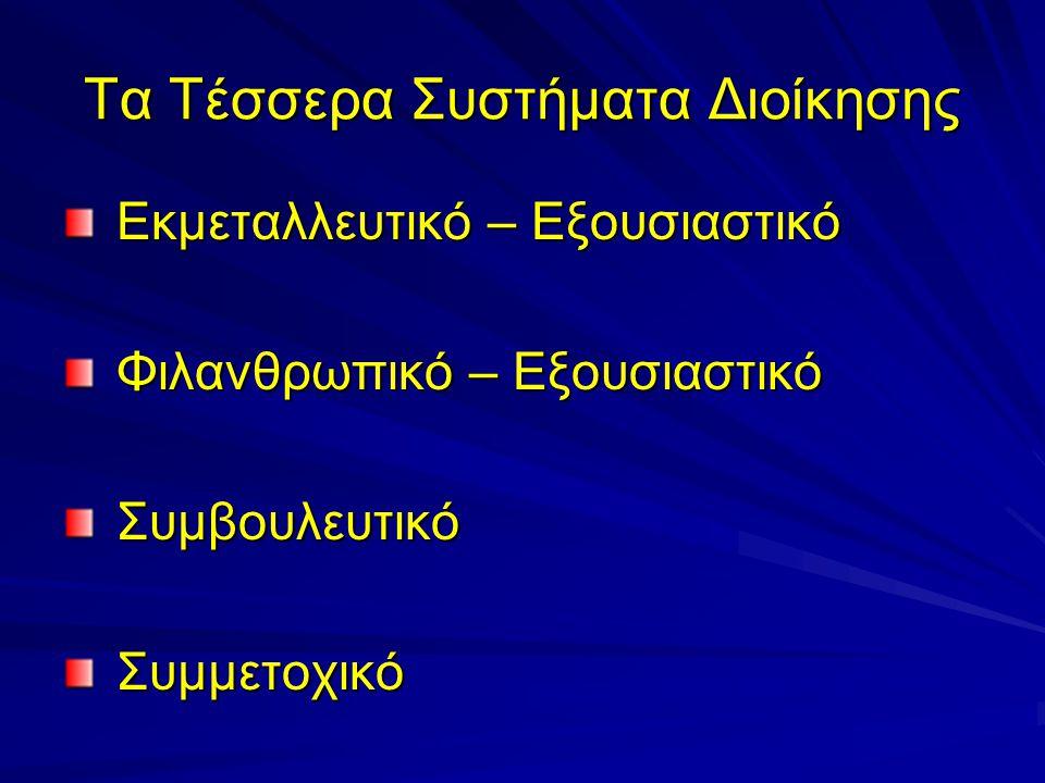 Τα Τέσσερα Συστήματα Διοίκησης Εκμεταλλευτικό – Εξουσιαστικό Εκμεταλλευτικό – Εξουσιαστικό Φιλανθρωπικό – Εξουσιαστικό Φιλανθρωπικό – Εξουσιαστικό Συμ