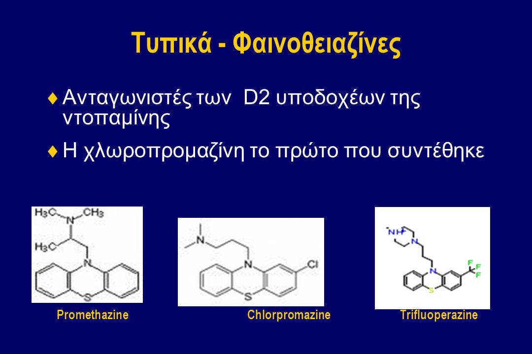 Τυπικά - Φαινοθειαζίνες  Ανταγωνιστές των D2 υποδοχέων της ντοπαμίνης  Η χλωροπρομαζίνη το πρώτο που συντέθηκε ChlorpromazinePromethazineTrifluopera