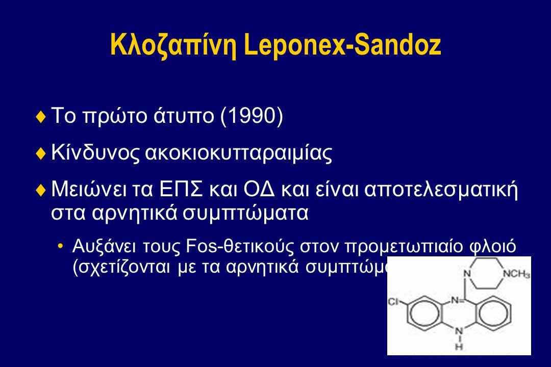 Κλοζαπίνη Leponex-Sandoz  Το πρώτο άτυπο (1990)  Κίνδυνος ακοκιοκυτταραιμίας  Μειώνει τα ΕΠΣ και ΟΔ και είναι αποτελεσματική στα αρνητικά συμπτώματ