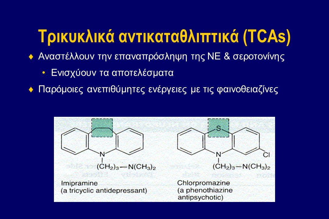 Τρικυκλικά αντικαταθλιπτικά (TCAs)  Αναστέλλουν την επαναπρόσληψη της NE & σεροτονίνης Ενισχύουν τα αποτελέσματα  Παρόμοιες ανεπιθύμητες ενέργειες μ