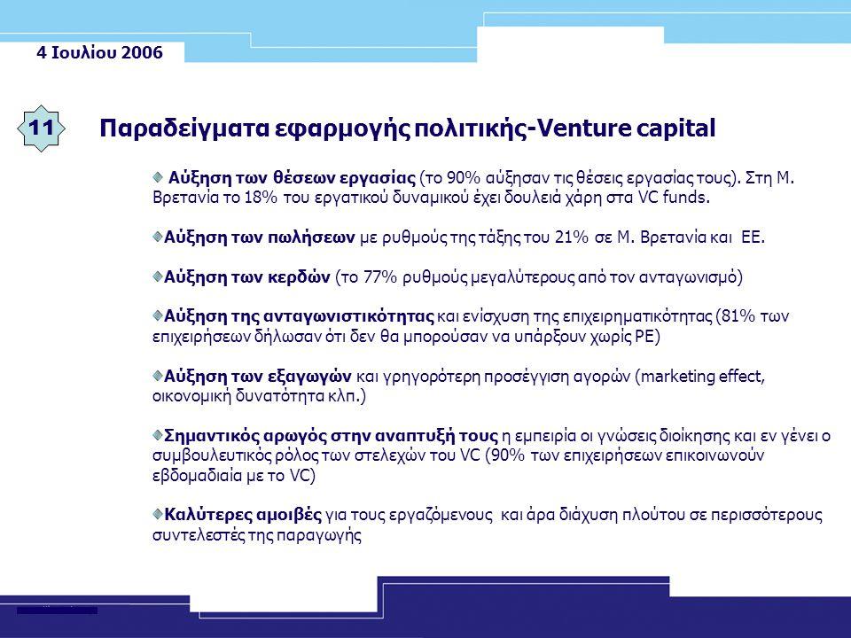 4 Ιουλίου 2006 Παραδείγματα εφαρμογής πολιτικής-Venture capital 11 Αύξηση των θέσεων εργασίας (το 90% αύξησαν τις θέσεις εργασίας τους).