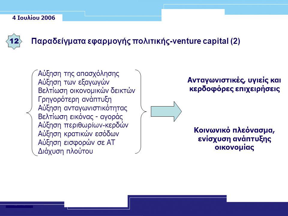 4 Ιουλίου 2006 12 Παραδείγματα εφαρμογής πολιτικής-venture capital (2) Αύξηση της απασχόλησης Αύξηση των εξαγωγών Βελτίωση οικονομικών δεικτών Γρηγορότερη ανάπτυξη Αύξηση ανταγωνιστικότητας Βελτίωση εικόνας - αγοράς Αύξηση περιθωρίων- κερδών Αύξηση κρατικών εσόδων Αύξηση εισφορών σε ΑΤ Διάχυση πλούτου Ανταγωνιστικές, υγιείς και κερδοφόρες επιχειρήσεις Κοινωνικό πλεόνασμα, ενίσχυση ανάπτυξης οικονομίας