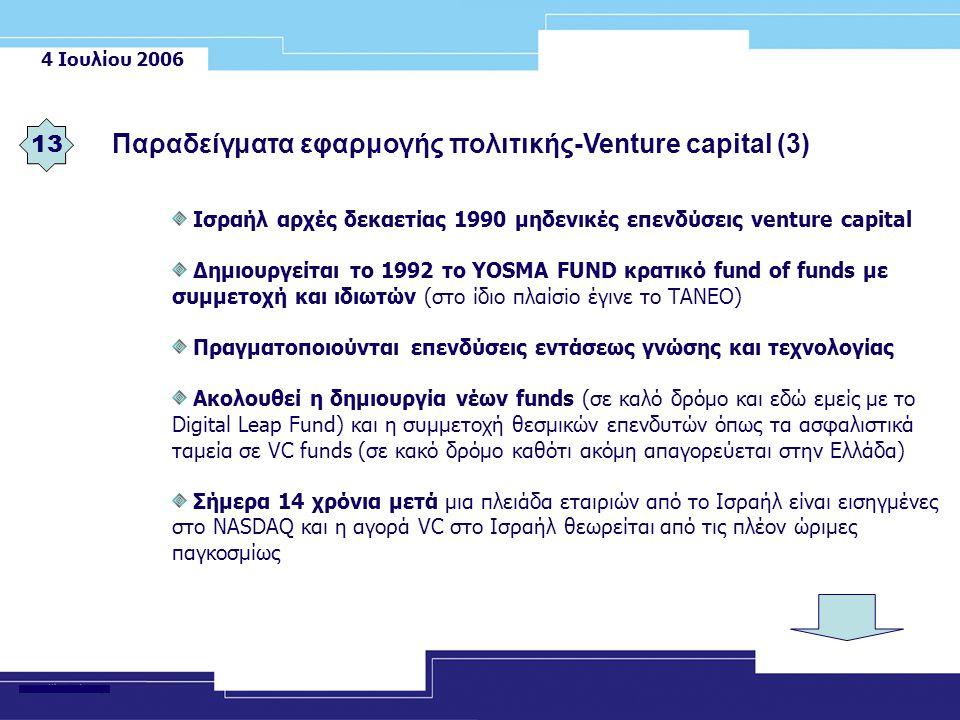 4 Ιουλίου 2006 Παραδείγματα εφαρμογής πολιτικής-Venture capital (3) 13 Ισραήλ αρχές δεκαετίας 1990 μηδενικές επενδύσεις venture capital Δημιουργείται το 1992 το YOSMA FUND κρατικό fund of funds με συμμετοχή και ιδιωτών (στο ίδιο πλαίσiο έγινε το ΤΑΝΕΟ) Πραγματοποιούνται επενδύσεις εντάσεως γνώσης και τεχνολογίας Ακολουθεί η δημιουργία νέων funds (σε καλό δρόμο και εδώ εμείς με το Digital Leap Fund) και η συμμετοχή θεσμικών επενδυτών όπως τα ασφαλιστικά ταμεία σε VC funds (σε κακό δρόμο καθότι ακόμη απαγορεύεται στην Ελλάδα) Σήμερα 14 χρόνια μετά μια πλειάδα εταιριών από το Ισραήλ είναι εισηγμένες στο NASDAQ και η αγορά VC στο Ισραήλ θεωρείται από τις πλέον ώριμες παγκοσμίως