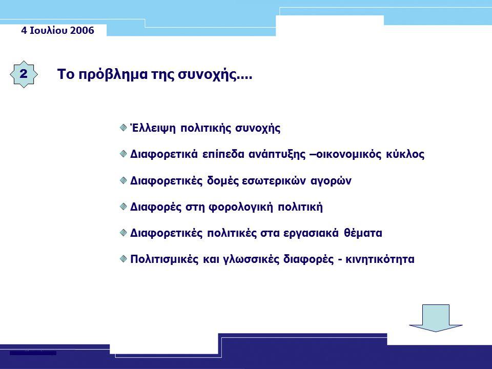 4 Ιουλίου 2006 Έλλειψη πολιτικής συνοχής Διαφορετικά επίπεδα ανάπτυξης –οικονομικός κύκλος Διαφορετικές δομές εσωτερικών αγορών Διαφορές στη φορολογική πολιτική Διαφορετικές πολιτικές στα εργασιακά θέματα Πολιτισμικές και γλωσσικές διαφορές - κινητικότητα Το πρόβλημα της συνοχής....
