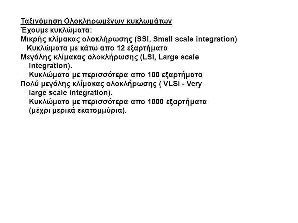Ταξινόμηση Ολοκληρωμένων κυκλωμάτων Έχουμε κυκλώματα: Μικρής κλίμακας ολοκλήρωσης (SSI, Small scale integration) Κυκλώματα με κάτω απο 12 εξαρτήματα Μ