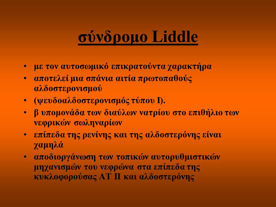 σύνδρομο Liddle με τον αυτοσωμικό επικρατούντα χαρακτήρα αποτελεί μια σπάνια αιτία πρωτοπαθούς αλδοστερονισμού (ψευδοαλδοστερονισμός τύπου Ι). β υπομο