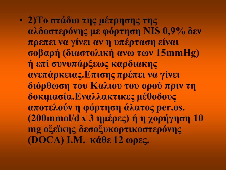 2)Το στάδιο της μέτρησης της αλδοστερόνης με φόρτηση NIS 0,9% δεν πρεπει να γίνει αν η υπέρταση είναι σοβαρή (διαστολική ανω των 15mmHg) ή επί συνυπάρ