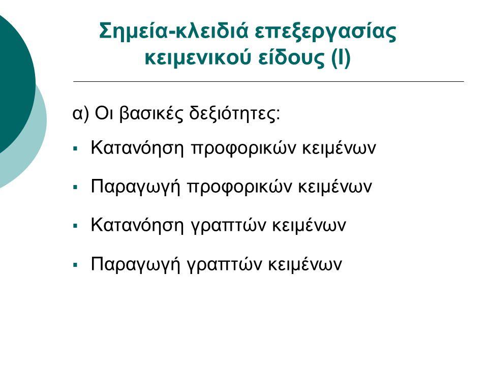 Σημεία-κλειδιά επεξεργασίας κειμενικού είδους (Ι) α) Οι βασικές δεξιότητες:  Κατανόηση προφορικών κειμένων  Παραγωγή προφορικών κειμένων  Κατανόηση