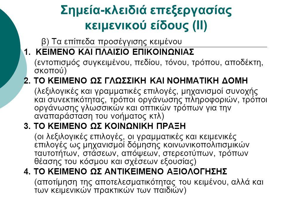 Σημεία-κλειδιά επεξεργασίας κειμενικού είδους (ΙΙ) β) Τα επίπεδα προσέγγισης κειμένου 1. ΚΕΙΜΕΝΟ ΚΑΙ ΠΛΑΙΣΙΟ ΕΠΙΚΟΙΝΩΝΙΑΣ (εντοπισμός συγκειμένου, πεδ