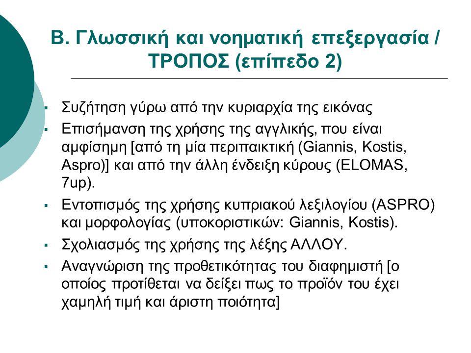 Β. Γλωσσική και νοηματική επεξεργασία / ΤΡΟΠΟΣ (επίπεδο 2)  Συζήτηση γύρω από την κυριαρχία της εικόνας  Επισήμανση της χρήσης της αγγλικής, που είν