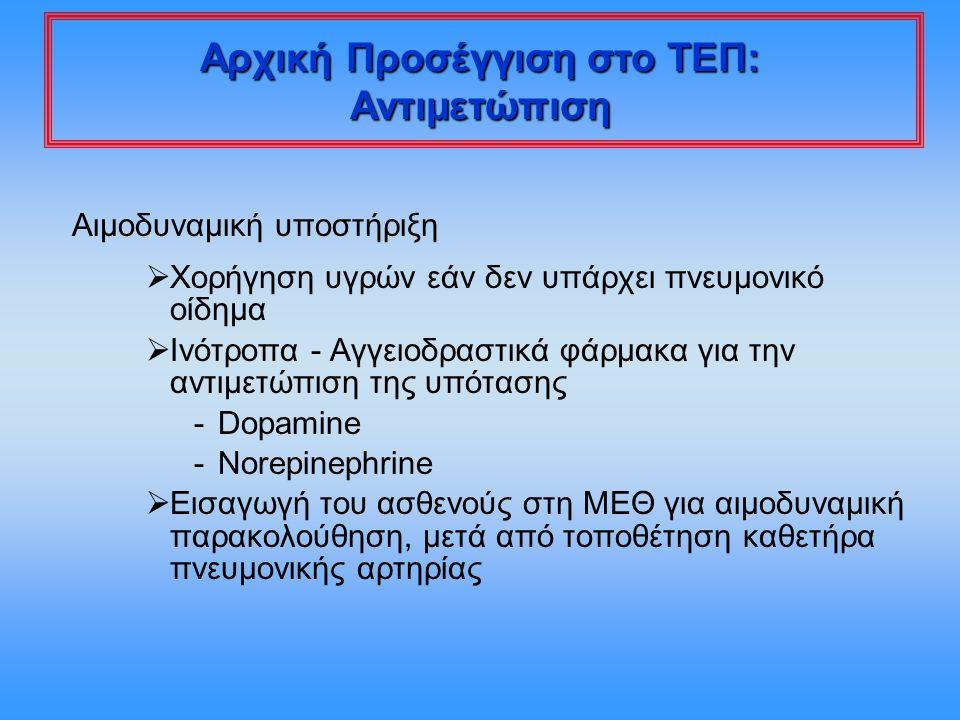 Αιμοδυναμική υποστήριξη  Χορήγηση υγρών εάν δεν υπάρχει πνευμονικό οίδημα  Ινότροπα - Αγγειοδραστικά φάρμακα για την αντιμετώπιση της υπότασης -Dopa