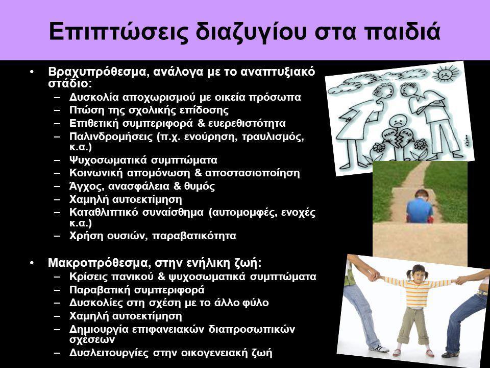 Επιπτώσεις διαζυγίου στα παιδιά Βραχυπρόθεσμα, ανάλογα με το αναπτυξιακό στάδιο: –Δυσκολία αποχωρισμού με οικεία πρόσωπα –Πτώση της σχολικής επίδοσης –Επιθετική συμπεριφορά & ευερεθιστότητα –Παλινδρομήσεις (π.χ.