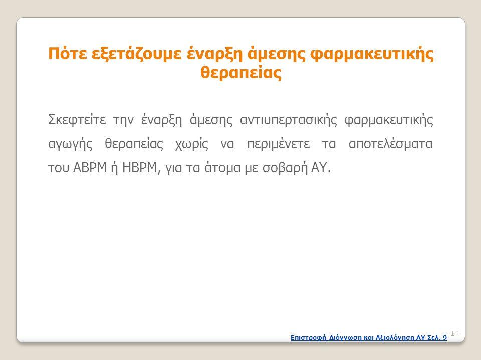 Σκεφτείτε την έναρξη άμεσης αντιυπερτασικής φαρμακευτικής αγωγής θεραπείας χωρίς να περιμένετε τα αποτελέσματα του ABPM ή HBPM, για τα άτομα με σοβαρή