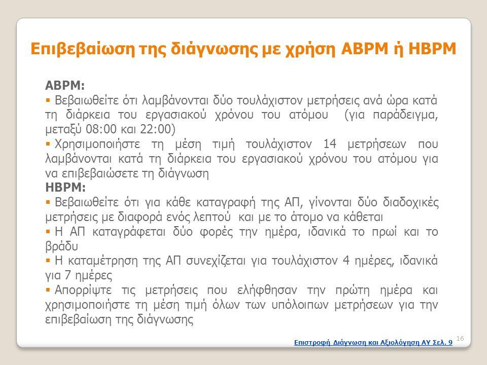 ΑΒPΜ:  Βεβαιωθείτε ότι λαμβάνονται δύο τουλάχιστον μετρήσεις ανά ώρα κατά τη διάρκεια του εργασιακού χρόνου του ατόμου (για παράδειγμα, μεταξύ 08:00