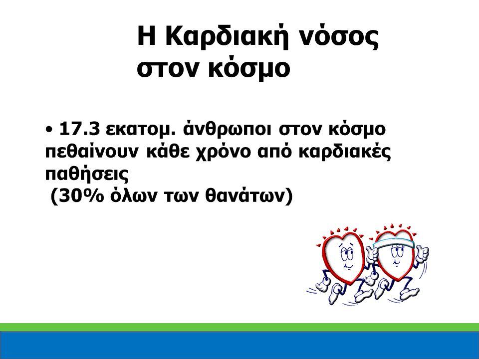 17.3 εκατομ. άνθρωποι στον κόσμο πεθαίνουν κάθε χρόνο από καρδιακές παθήσεις (30% όλων των θανάτων) Η Καρδιακή νόσος στον κόσμο