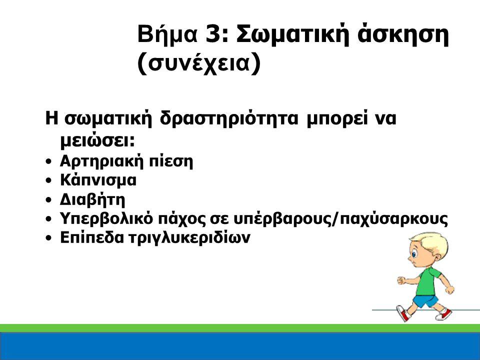 Η σωματική δραστηριότητα μπορεί να μειώσει: Αρτηριακή πίεση Κάπνισμα Διαβήτη Υπερβολικό πάχος σε υπέρβαρους/παχύσαρκους Επίπεδα τριγλυκεριδίων Βήμα 3:
