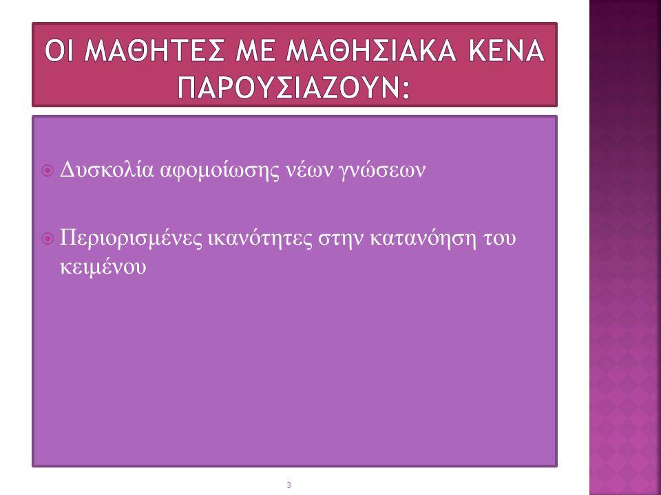  Δυσκολία αφομοίωσης νέων γνώσεων  Περιορισμένες ικανότητες στην κατανόηση του κειμένου 3