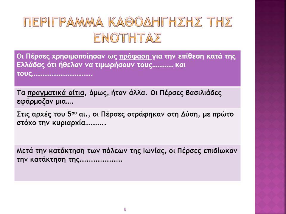 Οι Πέρσες χρησιμοποίησαν ως πρόφαση για την επίθεση κατά της Ελλάδας ότι ήθελαν να τιμωρήσουν τους………… και τους……………………………. Τα πραγματικά αίτια, όμως,