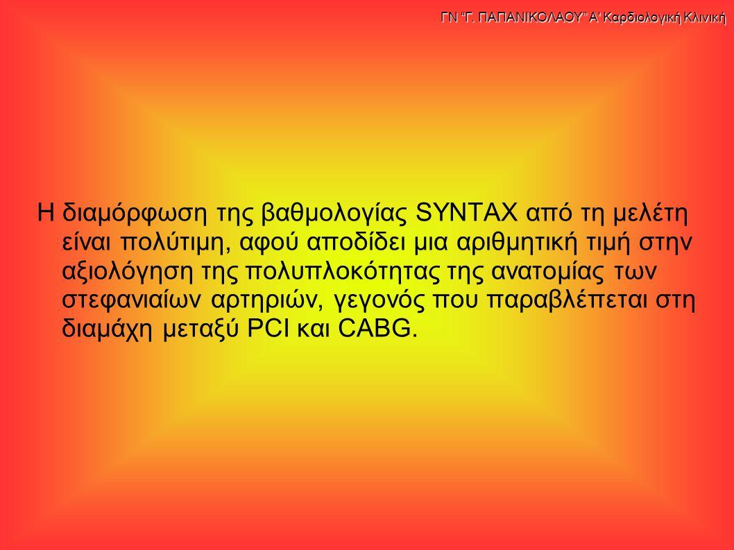 Η διαμόρφωση της βαθμολογίας SYNTAX από τη μελέτη είναι πολύτιμη, αφού αποδίδει μια αριθμητική τιμή στην αξιολόγηση της πολυπλοκότητας της ανατομίας των στεφανιαίων αρτηριών, γεγονός που παραβλέπεται στη διαμάχη μεταξύ PCI και CABG.
