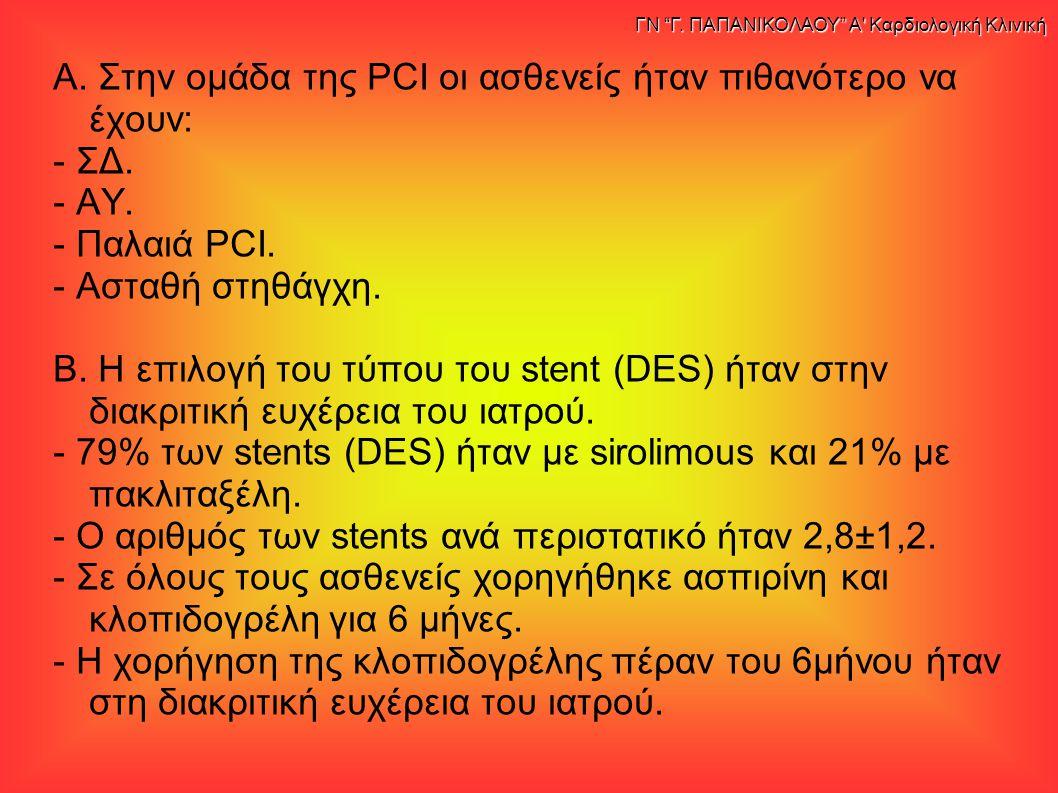 Α. Στην ομάδα της PCI οι ασθενείς ήταν πιθανότερο να έχουν: - ΣΔ. - ΑΥ. - Παλαιά PCI. - Ασταθή στηθάγχη. Β. Η επιλογή του τύπου του stent (DES) ήταν σ