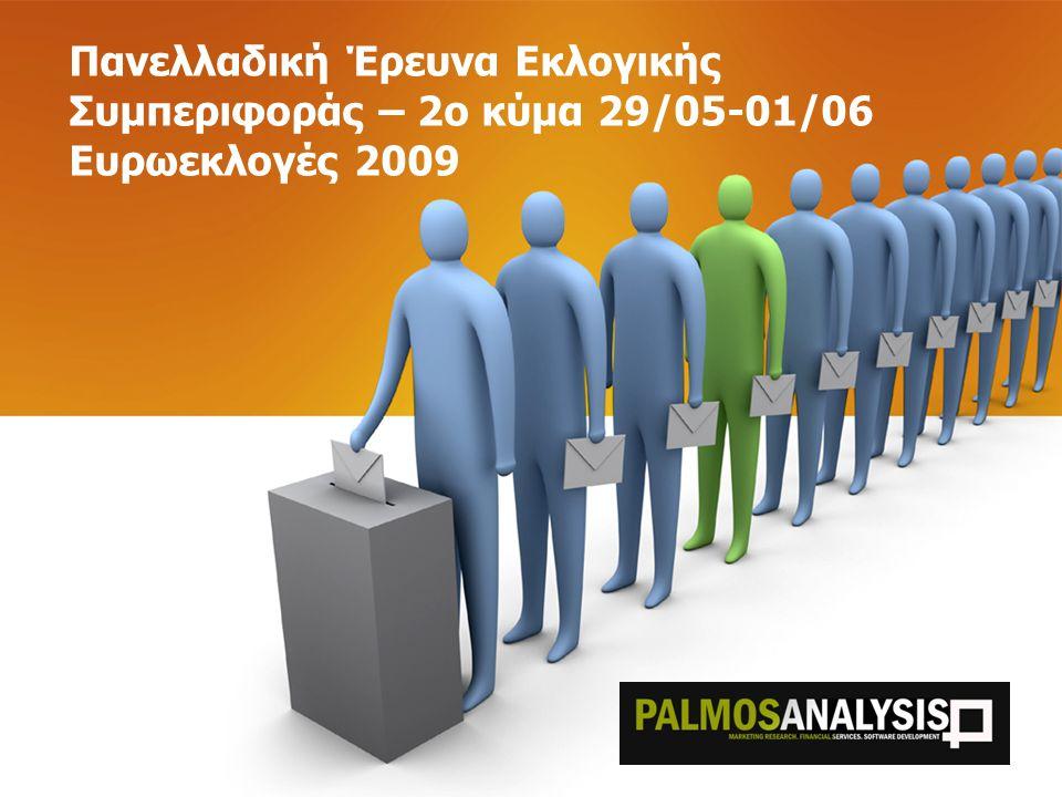 Ταυτότητα Έρευνας Κατηγορία: Έρευνα Εκλογικής Συμπεριφοράς Εντολέας:Εφημερίδα Αγγελιοφόρος Περίοδος: 29 Μαίου – 1 Ιουνίου 2009 Γεωγραφική περιοχή: Σύνολο Χώρας Επιλογή δείγματος: Τυχαία στρωματοποιημένη δειγματοληψία, με βάση τη γεωγραφική κατανομή του πληθυσμού (ΕΣΥΕ 2001) Συλλογή στοιχείων: Τηλεφωνικές συνεντεύξεις με χρήση δομημένου ερωτηματολογίου (σύστημα CATI) Μέγεθος δείγματος:1.097 άτομα άνδρες και γυναίκες, ηλικίας 18+ Σταθμίσεις:Με βάση το φύλο, την ηλικία (ΕΣΥΕ 2001) και την ψήφο στις Βουλευτικές Εκλογές του 2007 Μέγιστο σφάλμα:ΝΔ ±2,5% και ΠΑΣΟΚ ±2,9% Αρ.