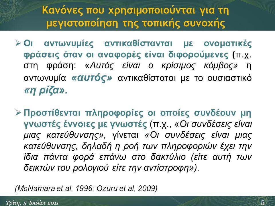 Κανόνες που χρησιμοποιούνται για τη μεγιστοποίηση της τοπικής συνοχής 5 Τρίτη, 5 Ιουλίου 2011  Οι αντωνυμίες αντικαθίστανται με ονοματικές φράσεις όταν οι αναφορές είναι διφορούμενες (π.χ.