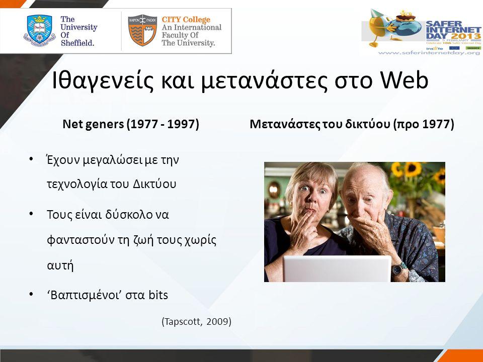 Ιθαγενείς και μετανάστες στο Web Net geners (1977 - 1997)Μετανάστες του δικτύου (προ 1977) Έχουν μεγαλώσει με την τεχνολογία του Δικτύου Τους είναι δύ